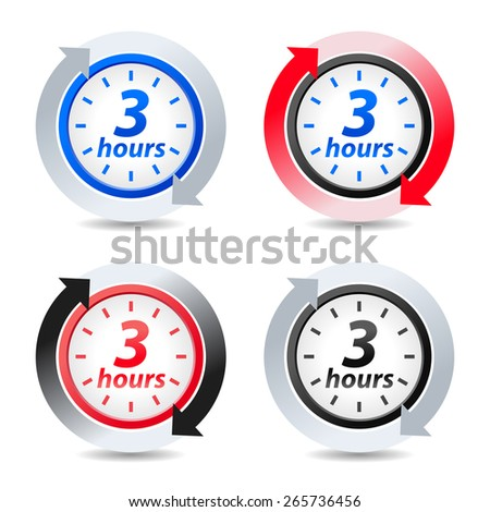 Vector 3 hours - stock vector