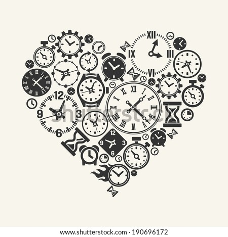 Vector hours heart - Symbol of love forever  - stock vector