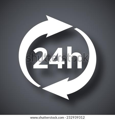 Vector 24 hours icon - stock vector