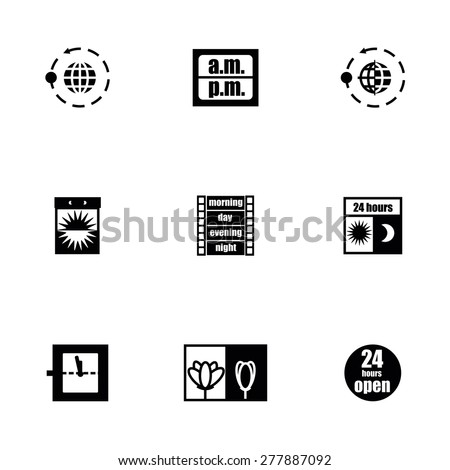 Vector 24 hours icon set on white background - stock vector
