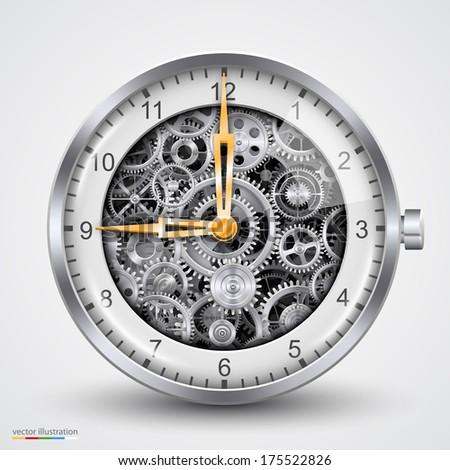 Vector hours of gears - stock vector