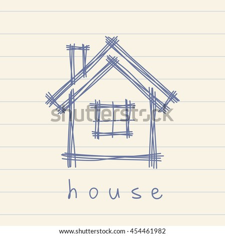 Vector house icon. Doodle hand drawn sign of real estate. Childish illustration for print, web - stock vector