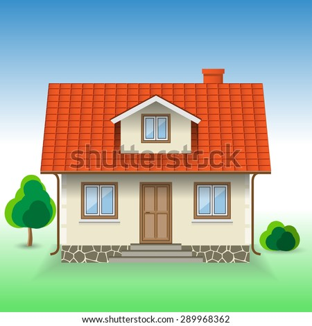 Vector House Icon on Nature background. Illustration. - stock vector