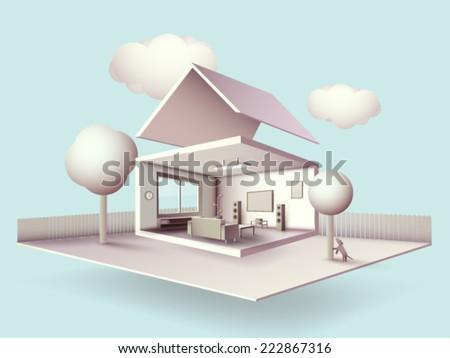 vector house illustration - stock vector