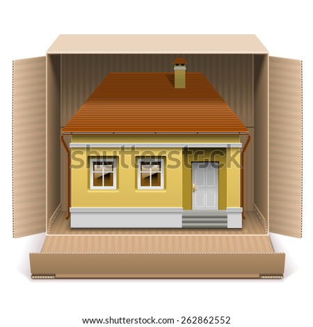Vector House in Carton Box - stock vector