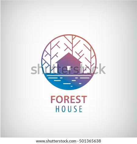 Vector House Woods Logo Cabin Forest Stock Vector 501365638   Shutterstock