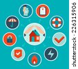 Vector house insurance concept in flat style - infographic design elements and icons - stock photo