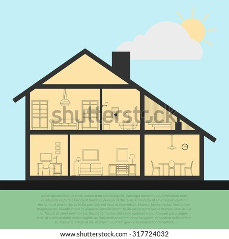 Vector house interior in cut. Detailed plan cross-sectional view room and bath, kitchen. Flat style vector illustration. EPS10 - stock vector