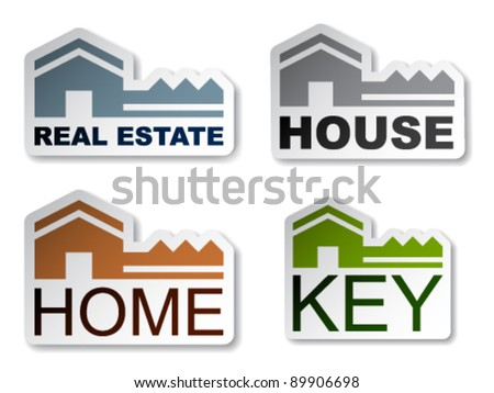 vector house key real estate stickers - stock vector