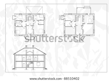 vector House Plans. White outlines on blue background - stock vector