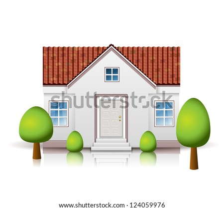 Vector House with tiled roof isolated on white - stock vector