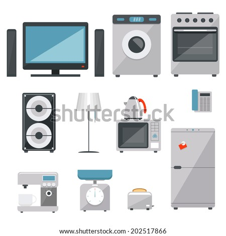vector household appliances icons set on white background - stock vector