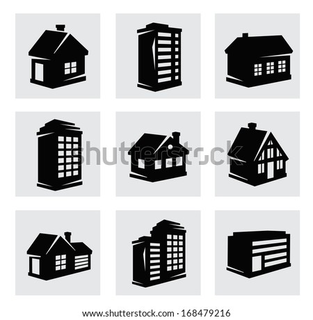 vector houses icons set - stock vector