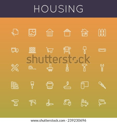 Vector Housing Line Icons - stock vector