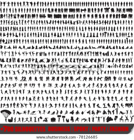 Vector huge set of 700 very detailed people silhouettes - stock vector