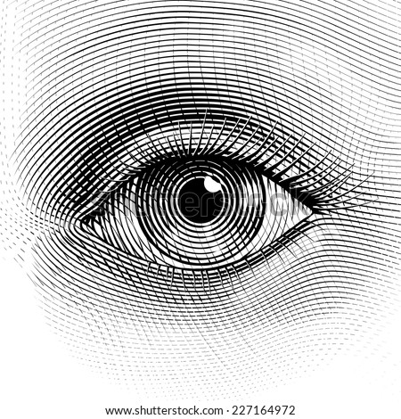 Vector human eye in engraved style. Eps8. CMYK. Organized by layers. One global color. Gradients free. - stock vector