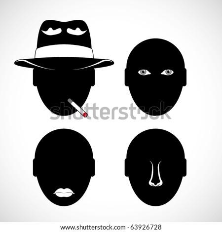 vector human head silhouette - stock vector