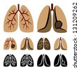 Vector human lung cancer icons - stock photo