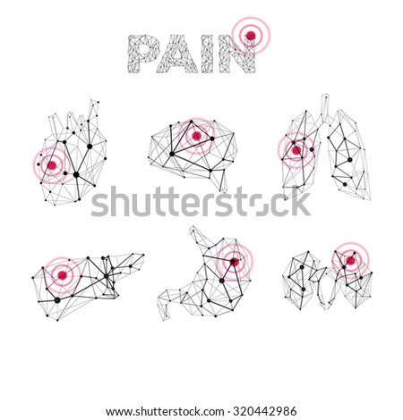 Vector human medical polygonal lines anatomy pain abstract illustration - stock vector