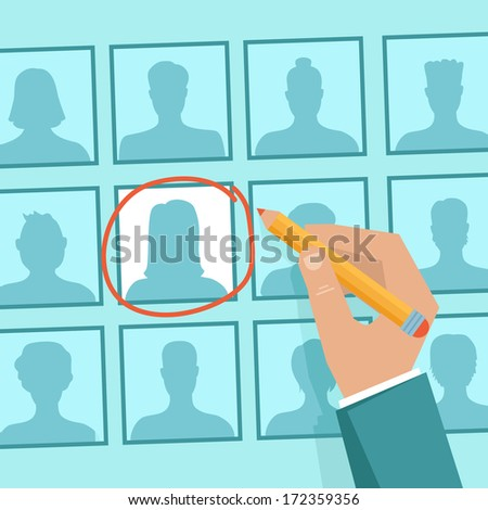 Vector  human resources concept  - hand holding woman icon - in flat style - stock vector