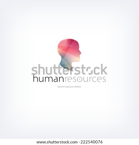 Vector human resources logo design template with subtle polygonal texture - stock vector