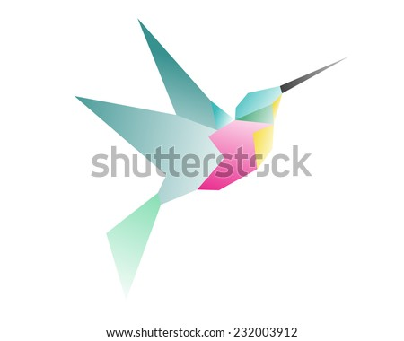 Vector Hummingbirds in Colorful Origami Paper Style on White Background. Logo with Colibri. Japan Style Logo. - stock vector