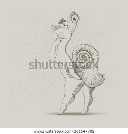 Vector humorous hand drawn sketch of cartoon snail on light beige shabby background