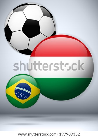 Vector - Hungary Flag with Soccer Ball Background - stock vector