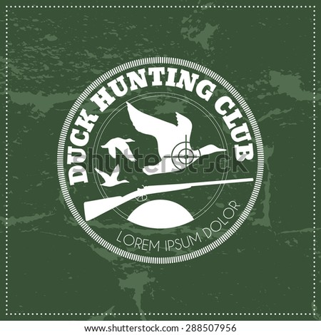 Vector hunting club emblem with a wild hog silhouette. A black monochrome label on a white background (isolated). Editable colors