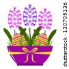 vector hyacinths and easter eggs in pot isolated on white background - stock vector