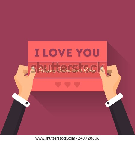 Vector I love You Lettering Card Hold Hands Vector Design Valentine's Day Theme - stock vector