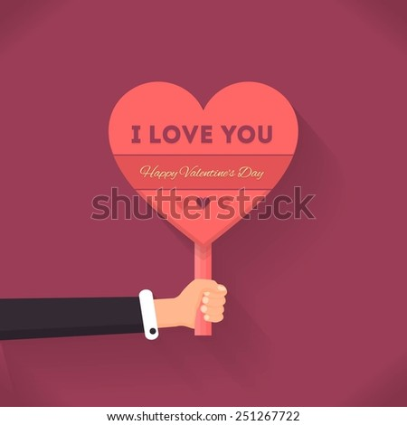 Vector I love You Lettering, Hearts Style Signboard Hold Hand Vector Design Valentine's Day Theme - stock vector