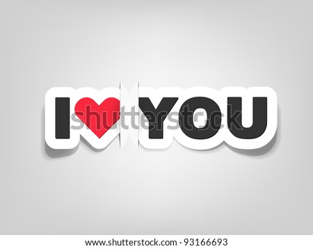 vector i love you; realistic cut, takes the background color - stock vector