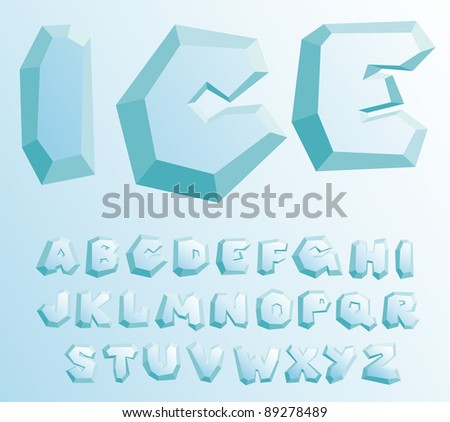 Vector ice alphabet on a blue gradient background - stock vector