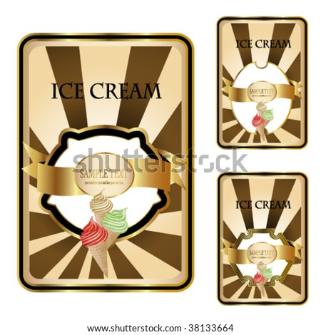 Vector ice cream labels - stock vector