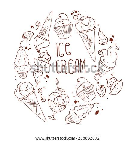 Vector ice cream pattern. Background design. Dessert ornament. - stock vector