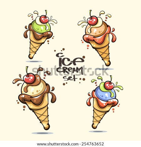 vector. ice cream set - stock vector