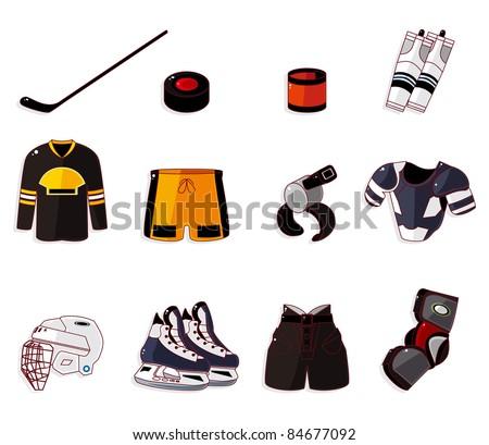 Vector ice hockey icon set - stock vector