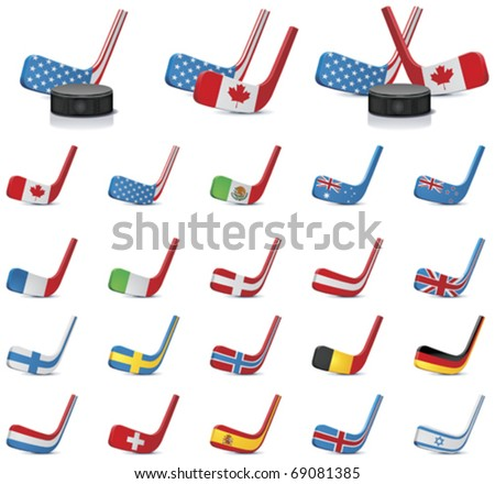 Vector ice hockey sticks country flags icons, Part 2 - stock vector