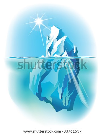 Vector iceberg under water and above water with sun shining - stock vector