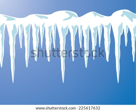 vector icicles and snow background - stock vector