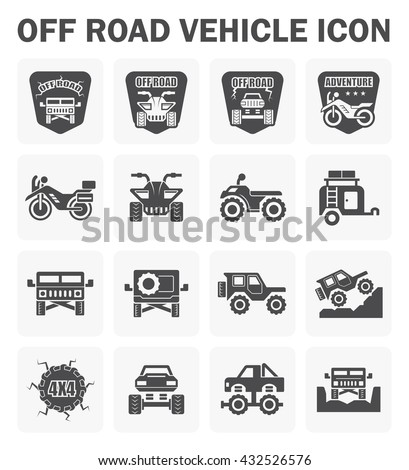Vector icon and logo design of off road vehicle. - stock vector