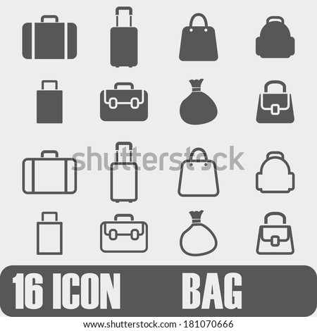 Vector  Icon Bag  On white background - stock vector