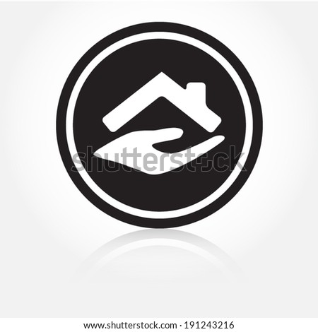 vector icon black with reflection - stock vector