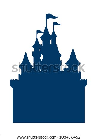 vector icon castle silhouette - stock vector