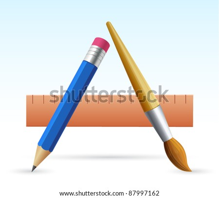 Vector icon composition of pencil, brush and ruler with shadows - stock vector