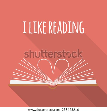 vector icon concept. I like reading. Open book pages as heart. - stock vector