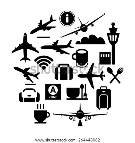Vector icon design-Silhouette illustration for airplanes, signs of airport facilities in monochrome. - stock vector