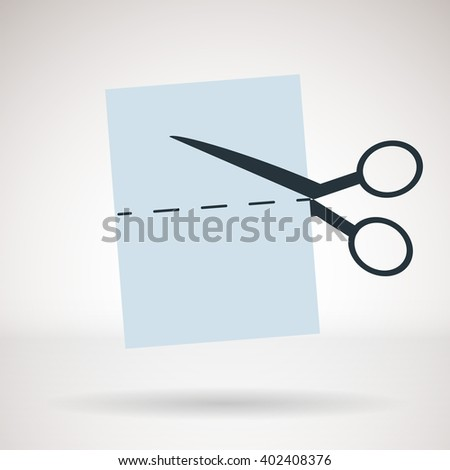Vector icon for business presentations, interface, logo. Modern flat design. Scissors cut a coupon. - stock vector