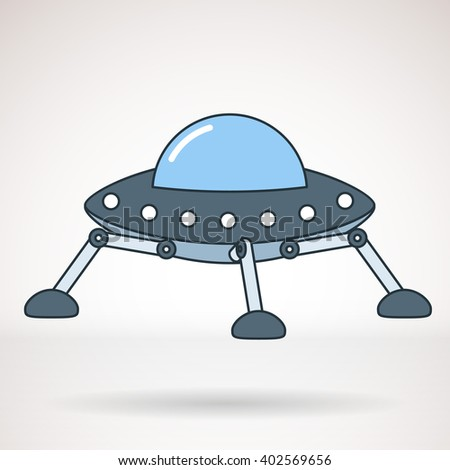 Vector icon for business presentations, interface, logo. Modern flat design. UFO, flying saucer.